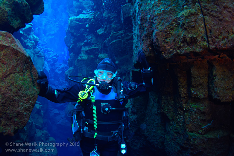 Nic touching the two tectonic plates underwater!