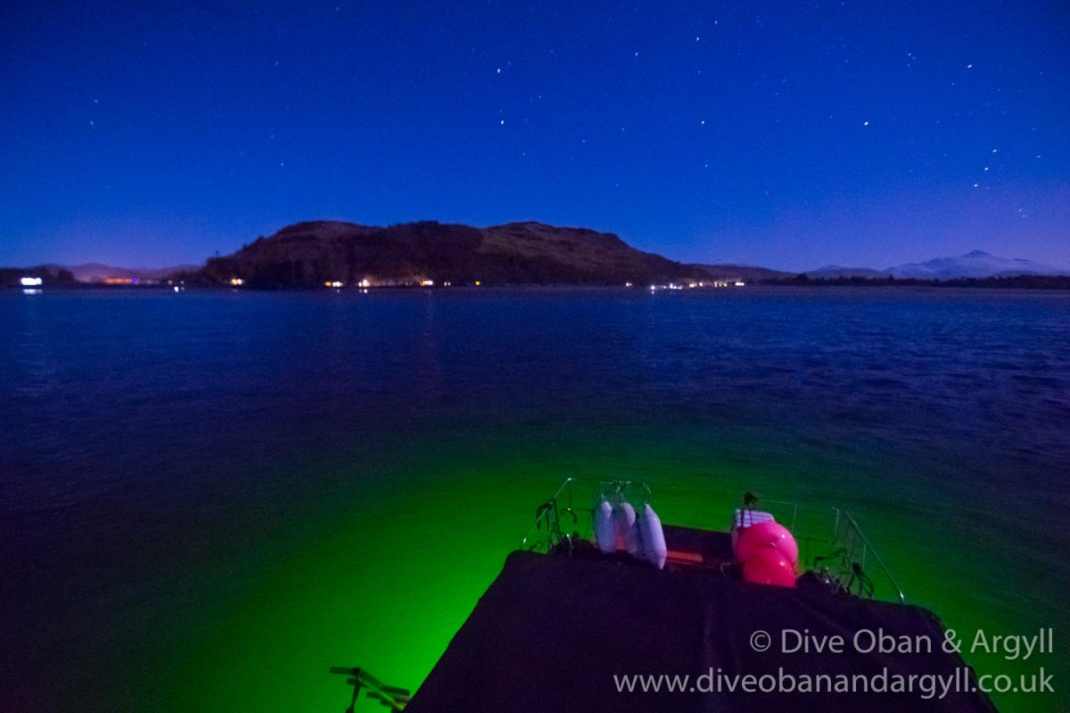 Floodlight dive under a starry sky